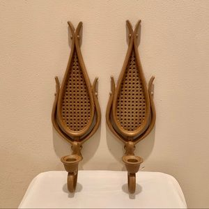 Vintage set of rattan candle stick holders